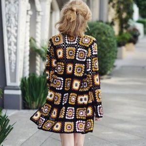 Longline crochet granny square cardigan boho 70s